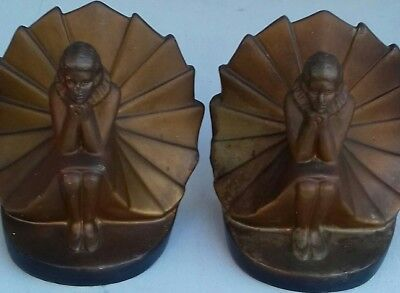 Vintage Pair Of Art Lady Bookends