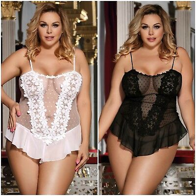 2PC Sexy New Plus Size Babydoll Teddy Flower Lace Mesh Bodysuit Lingerie SZM-5XL