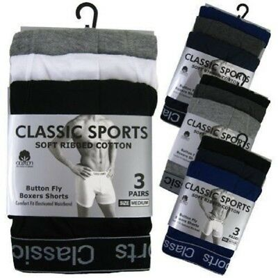 3 / 6 / 12 Mens Cotton Branded Boxer Shorts Under Wear in All Sizes S M L XL 2XL