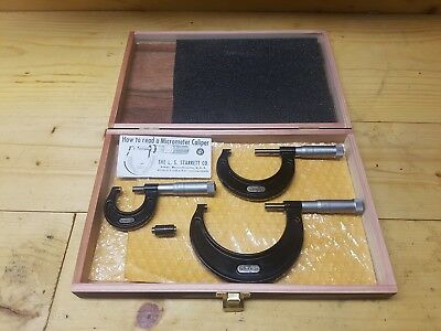 STARRETT OUTSIDE OD MICROMETER SET OF 3 No.436  0-3 0-1 1-2 2-3 With Wood Case