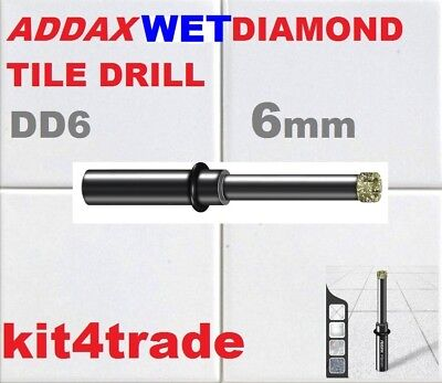 ADDAX WET DIAMOND DRILL 6mm BIT FOR PORCELAIN TILE GLASS CERAMICS GRANITE/SLATE