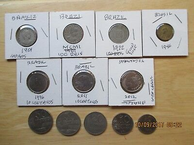 Collection of 12 Coins, Brazil, dated 1901-2012