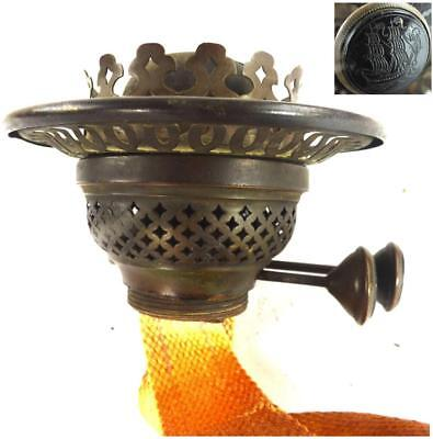 """Antique Victorian Brass Burner For Oil Lamp With 4"""" Shade"""