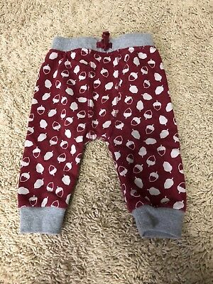 Cat and Jack baby 6-9 months acorn pants maroon and gray sweatpants