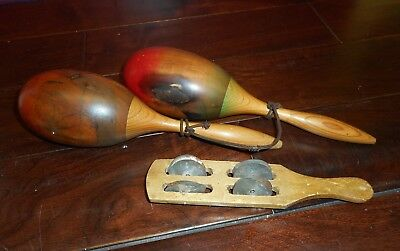 Wooden Maracas Percussion Shaker Instruments 12 Inches VINTAGE VERY OLD