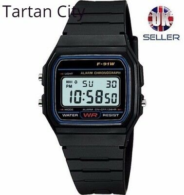 Replacement Casio F-91w Style Wrist Watch Retro Digital - Black - UK Seller