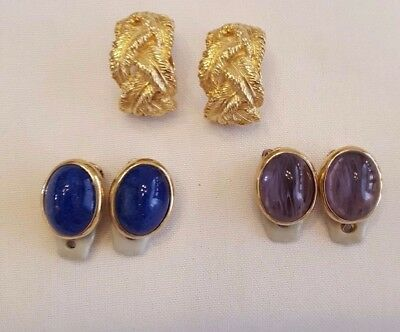 Vintage Signed CINER  Gold Tone Clip Style LOT of 3 Earring Pairs - EXCELLENT