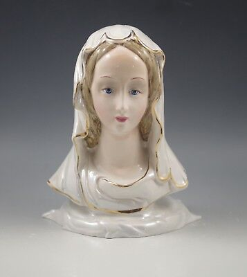 1940's ITALY CERAMIC MADONNA - VIRGIN MARY BUST - LUSTER  SCULPTURE