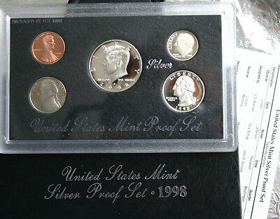 1998 United States Mint ANNUAL 5 Coin SILVER Proof Set with Box and COA