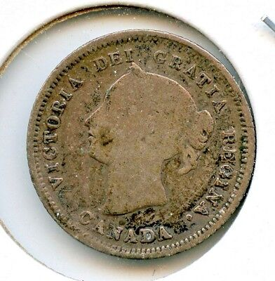 CANADA 1880 H FIVE CENT SILVER  ~ VERY GOOD ~   *hucky*