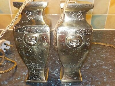 A Pair Of Beautiful Vintage Antique Restored Solid Brass Table Lamp Bases, Vgc!