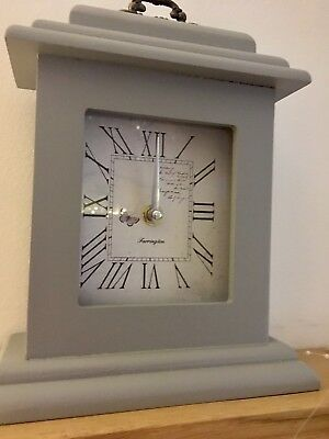 Shabby Country Chic Dove Grey Classic Vintage Mantle Mantel Clock Butterfly 24cm