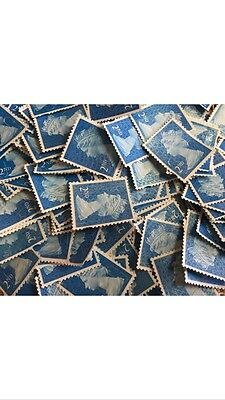 100 X 2nd Class Unfranked Postage Stamps Off Paper No Gum Face Value £56