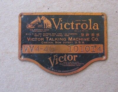 Antique Victor Victrola Talking Machine Phonograph Brass ID Name Plate VV4-40 i