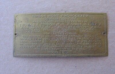 Edison Home Phonograph Combination Type Brass ID Name Plate Tag Model EDX g