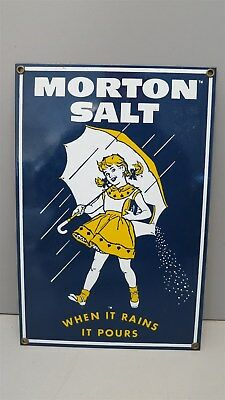 Vintage Morton Salt Sign- Ande Rooney-Porcelain Enameled