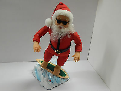 Rare Unique Gemmy Musical Animated Surfing Santa Little St. Nick Claus Christmas