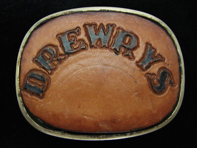 QB15105 VINTAGE 1970s **DREWRY'S** BEER LEATHER & SOLID BRASS BELT BUCKLE