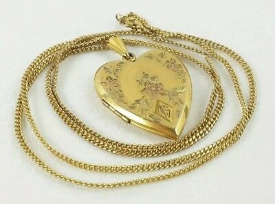 Vintage 1/20 12k Gold Filled Heart Locket with GF Chain