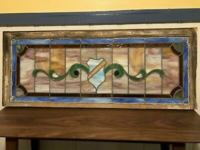 Glass Window -Stained Leaded Wood Frame Decorative