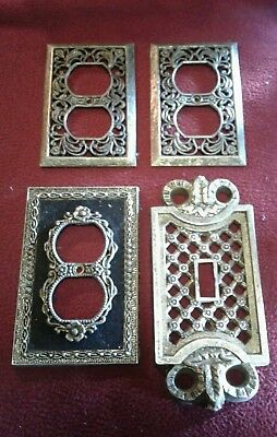 Vintage Lot 4 Beautiful Ornate Brass Light & Outlet Cover Switch Wall Plates #5