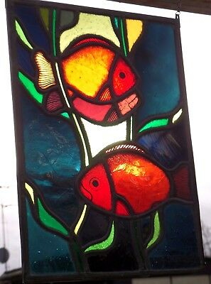 "LEADED GLASS WINDOW Image Older Stained Glass "" Fish "" SIGNED PITT Van Treeck"