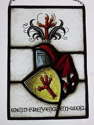 "LEADED GLASS WINDOW Image Antique Original Stained Glass/Etching "" Emblem """