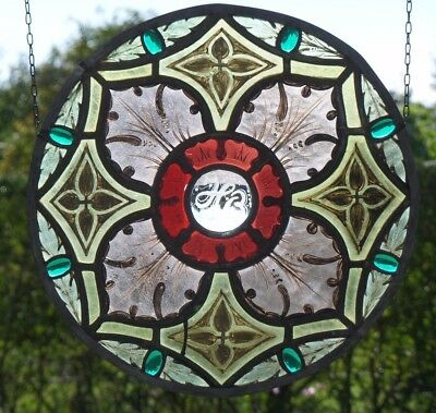 Leaded Glass Antique Stained Glass/Window Image with Glass Stones Designed