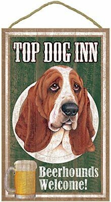"Top Dog Inn Beerhounds Basset Hound Bar Sign Plaque dog pet 10"" x 16"" Beer"