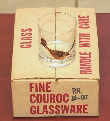 Couroc mid century set of 6 Roadrunner low ball bar glasses - new in box