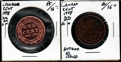 Canada One Cent 1998 Commemorative - 30th anniv RCM - Antiqued and Proof issues