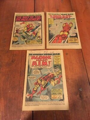 Lot Of The Invincible Iron Man 1,2,3 Coverless Marvel 1968 Read Desc