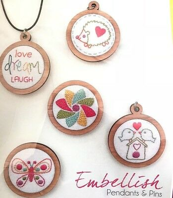 Embellish Pendants & Pins - Miniature Embroidery Hoop KIT - 2 Pack 1.5""