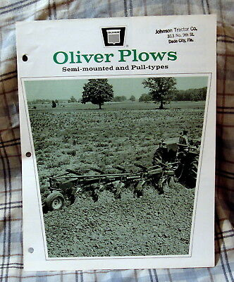 Vintage Oliver Corporation Semi-Mounted Plows Advertising Brochure -Ca 1970!