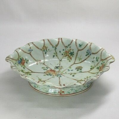 D688: Chinese old blue porcelain shallow bowl of traditional TENKEI-AKAE style