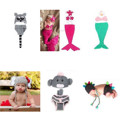 Fashion Knitted Outfit Photography Prop Costume Set For Unisex Baby Girl