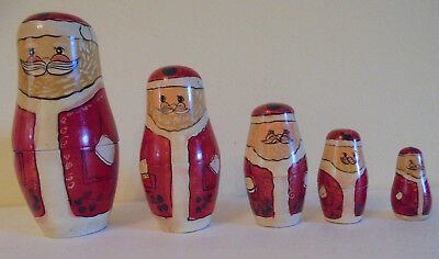 Vintage Stacking Nesting Santas Wooden 5 Pc Christmas Decoration by ENESCO