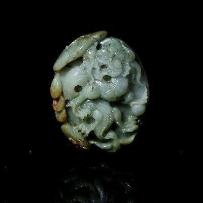 100% Natural Class A Jadeite Jade Carving Dragon Pendant landscape