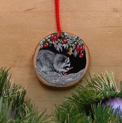 Hand Painted Wood Slice Christmas Ornament Raccoon Glitter Snow Candy Cane 44