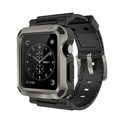 Apple Watch Series 3 Band Hard Shell Shockproof Case Buckle Sport 42mm Black New