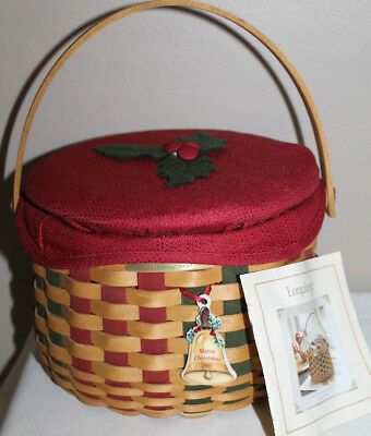 2003 Longaberger Caroling Basket,  Fabric, New Lid, Tie-On, Card, Protector
