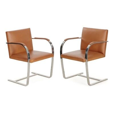 Vintage Pair of Mies van der Rohe for Knoll BRNO Leather Arm Chairs, Stamped KP