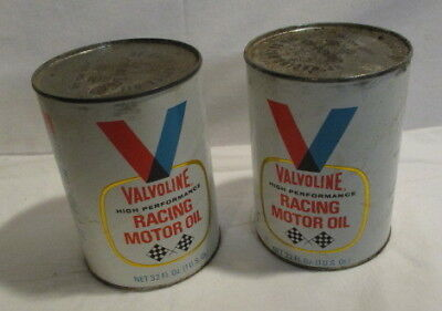 2 Valvoline Racing Oil Cans Unopened Vintage Oil Cans