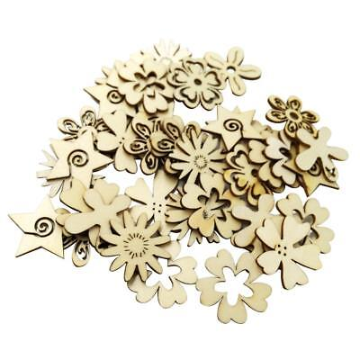 50x Mixed Wooden Tags Flower Shapes Wood Crafts MDF Cut Ornaments Decoration