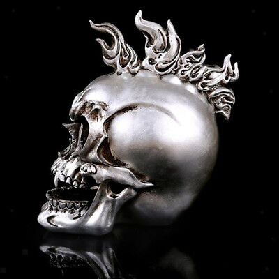 SILVER RESIN SKULL Head Figure Ornament Occult Skeleton GOTHIC PUNK Decor