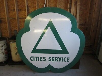 Early Original Cities Service Porcelain Sign Double Side 6' Nice