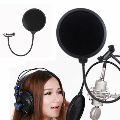 Recording Studio Microphone Mic Wind Screen Pop Filter Mask Shield Double Layer