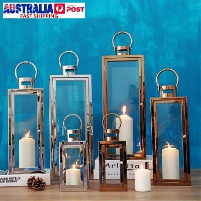 3Pcs Set Stainless Steel Glass Tea Light Holder Wedding Candle Lanterns Decor