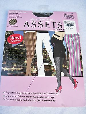 ASSETS MARVELOUS MAMA Maternity Pantyhose ~ Size 1 ~ New ~ Black Fishnet
