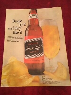 1961 Carling black label beer vintage print Ad